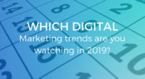 calendar in the background with the signature blue wash over the headline about marketing trends in 2019 from BigWing